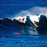 Hawaii Oahu Waimea Bay Surfers Poster by Anonymous