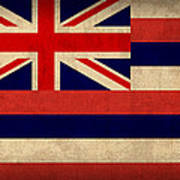 Hawaii State Flag Art On Worn Canvas Poster