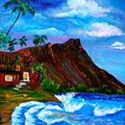 Hawaiian Homestead At Diamond Head Poster