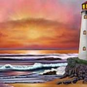 Hawaiian Sunset Lighthouse Poster
