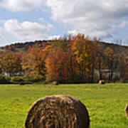 Hay Bale In Country Field Poster