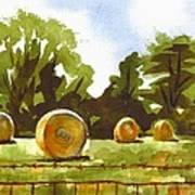 Hay Bales At Noontime  Poster