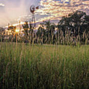 Hay Field Sunset Poster