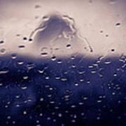 Haystack Rock Rain Poster