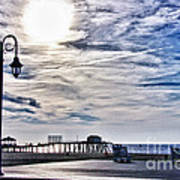 Hdr Beachtown Beach Ocean Sand Pier Sunrise Clouds Relaxation Photography Photos Sale Gallery Buy  Poster by Pictures HDR