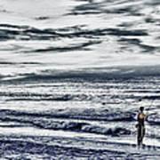 Hdr Black White Color Effect Fisherman Beach Ocean Sea Seascape Landscape Photography Image Photo  Poster
