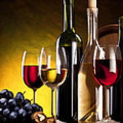 Hdr Style Wine Glasses Bottle Cask And Grapes Poster