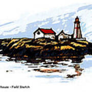 Head Harbour Lighthouse - Field Sketch Poster