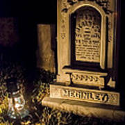 Headstone By Lantern Light Poster