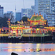 Hean Boo Thean Temple At Blue Hour Poster