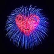 Heart Fireworks Face Poster