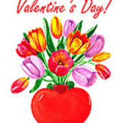 Heart Full Of Tulips Valentine Bouquet  Poster