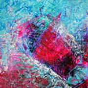 Heart On Ice Abstract Blue Magenta 8x10 Painting Original Contemporary Modern Heart Painting Poster