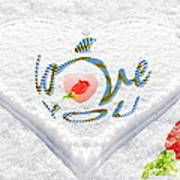 Heart On Snow With Rose Poster