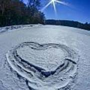 Heart Outlined On Snow On Topw Of Frozen Lake Poster