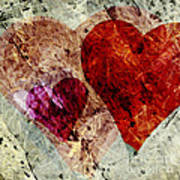 Hearts 10 Square Poster
