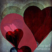 Hearts 9 Square Poster