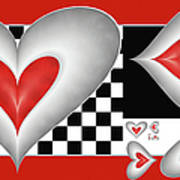 Hearts On A Chessboard Poster