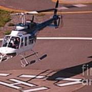 Helicopter Landing In Victoria, British Columbia Poster