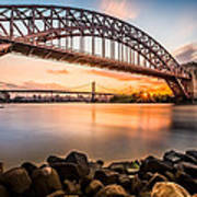 Hell Gate And Triboro Bridge At Sunset Poster