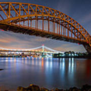Hell Gate And Triboro Bridge By Night Poster