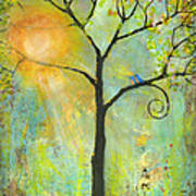 Hello Sunshine Tree Birds Sun Art Print Poster by Blenda Studio