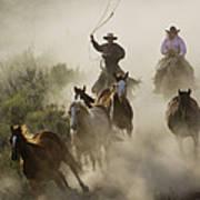 Herding Horses Oregon Poster