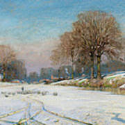 Herding Sheep In Wintertime Poster by Frank Hind