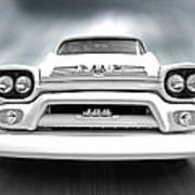 Here Comes The Sun - Gmc 100 Pickup 1958 Black And White Poster