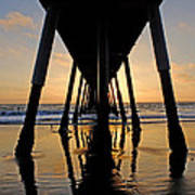 Hermosa Pier At Sunset Poster