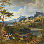 Heroic Landscape With Rainbow Poster