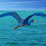 Heron Flying Over Ocean Poster