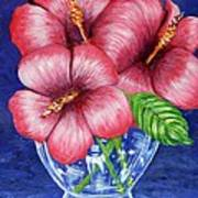 Hibiscus In Glass Vase Poster