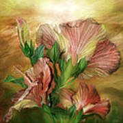 Hibiscus Sky - Peach And Yellow Tones Poster