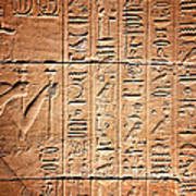 Hieroglyphs In The Temple Of Kalabsha  Poster