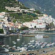 High Angle View Of A Town, Amalfi Poster