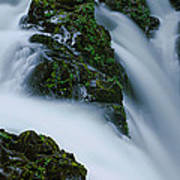 High Angle View Of A Waterfall, Sol Duc Poster