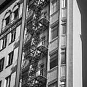 Highrise Fire Escape Bw Poster