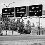 highway 1 intersection directions swift current Saskatchewan Canada Poster