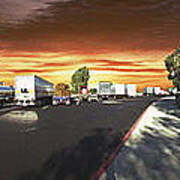 Highway Truck Stop Sunset Panorama Poster