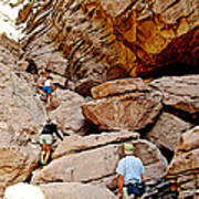 Hikers Enter Ladder Canyon From Big Painted Canyons Trail In Mecca Hills-ca  Poster