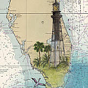 Hillsboro Inlet Lighthouse Fl Cathy Peek Nautical Chart  Poster