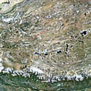 Himalaya Mountains Asia True Colour Satellite Image  Poster