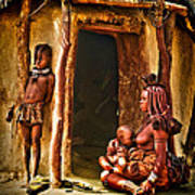 Himba Family By The Door Of Their Clay Hut Poster by Paul W Sharpe Aka Wizard of Wonders