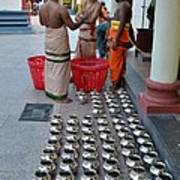 Hindu Priests Prepare Offering To Gods Poster
