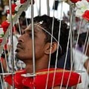 Hindu Thaipusam Festival Pierced Devotee In Singapore Poster