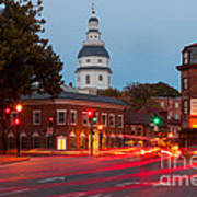 Historic Annapolis And Evening Traffic II Poster
