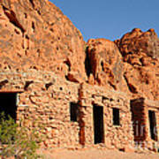 Historic Civilian Conservation Corps Stone Cabins In The Valley Of Fire Poster