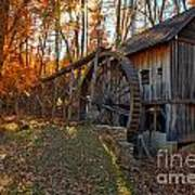 Historic Grist Mill With Fall Foliage Poster