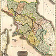 Historic Map Of Tuscany 1814 Poster